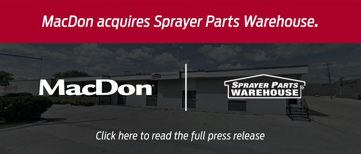 MacDon and Sprayer Parts Warehouse logo in front of building